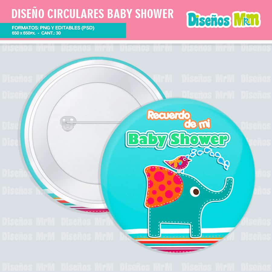 Diseños Circulares BabyShower para pines y Botones.