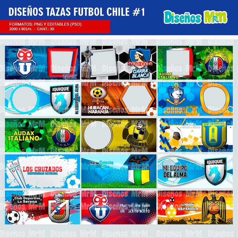EQUIPOS FUTBOL CHILE: DISEÑOS PARA MUGS TAZAS