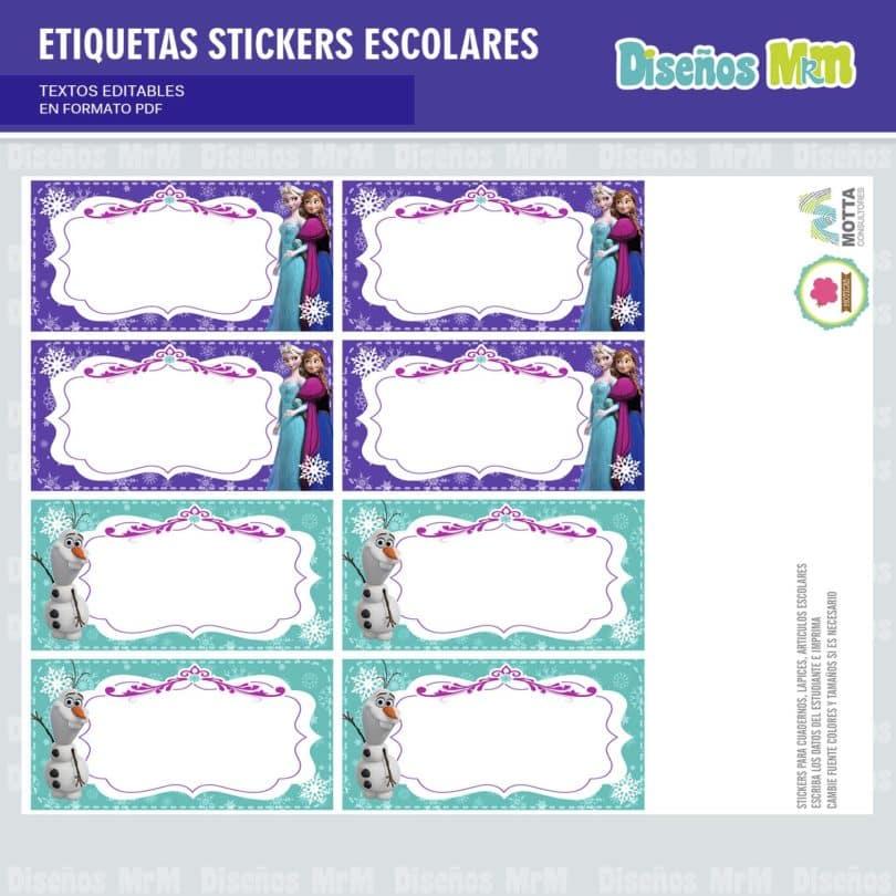 etiquetas-sticker-frozen-ana-elsa-olaf-escolar-estudiante-escuela-colegio-personalizar-10