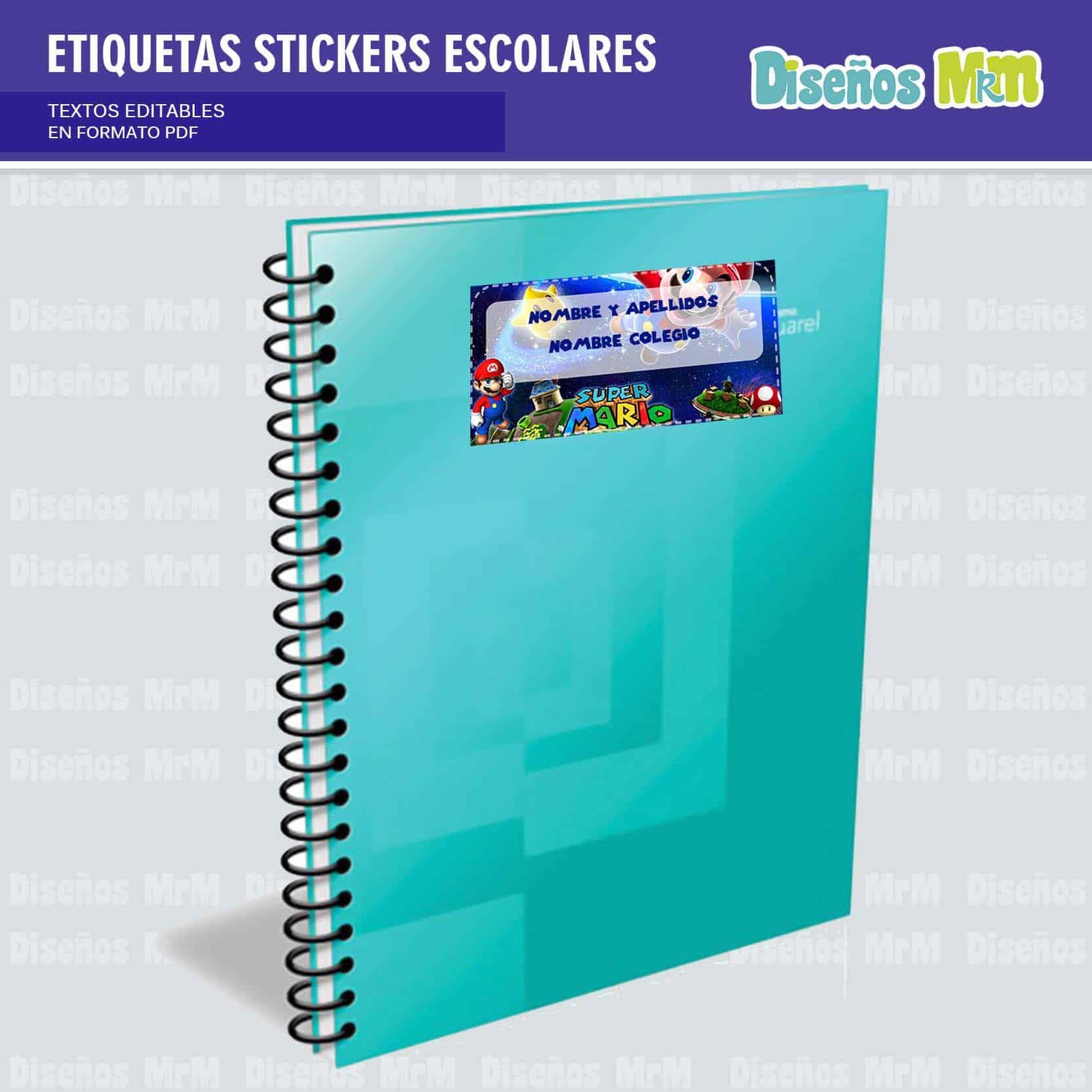 etiquetas-sticker-mario-bros-escolar-estudiante-escuela-colegio-personalizar