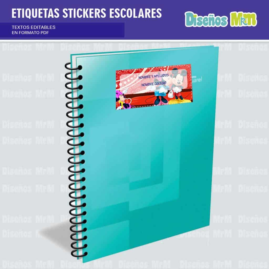 ETIQUETAS STICKERS ESCOLARES MINIE MOUSE