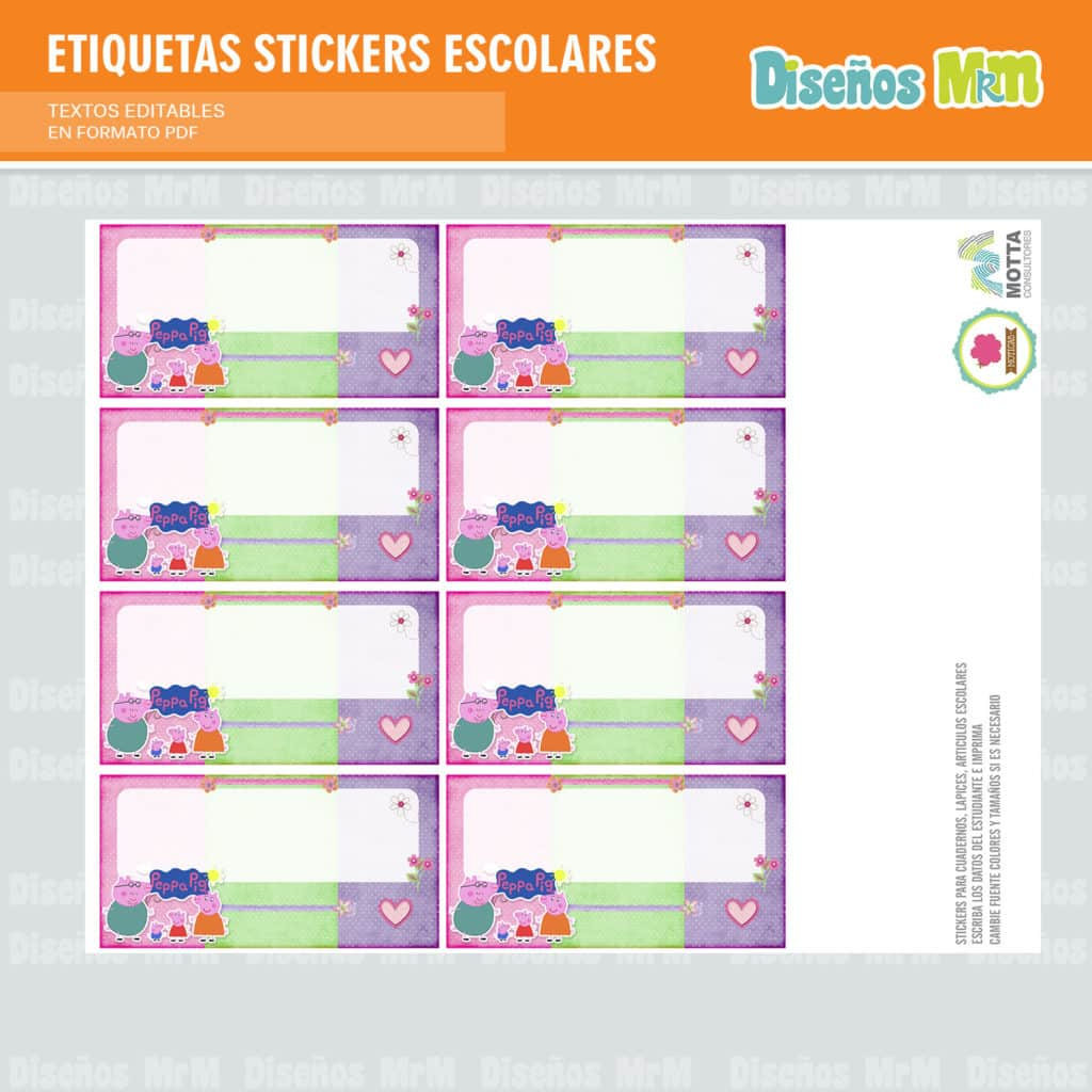 ETIQUETAS STICKERS ESCOLARES PEPPA PIG