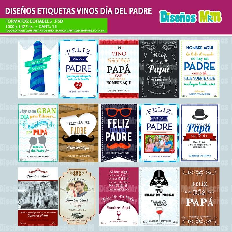 Etiquetas para botella de vino dia del padre for Diseno de etiquetas