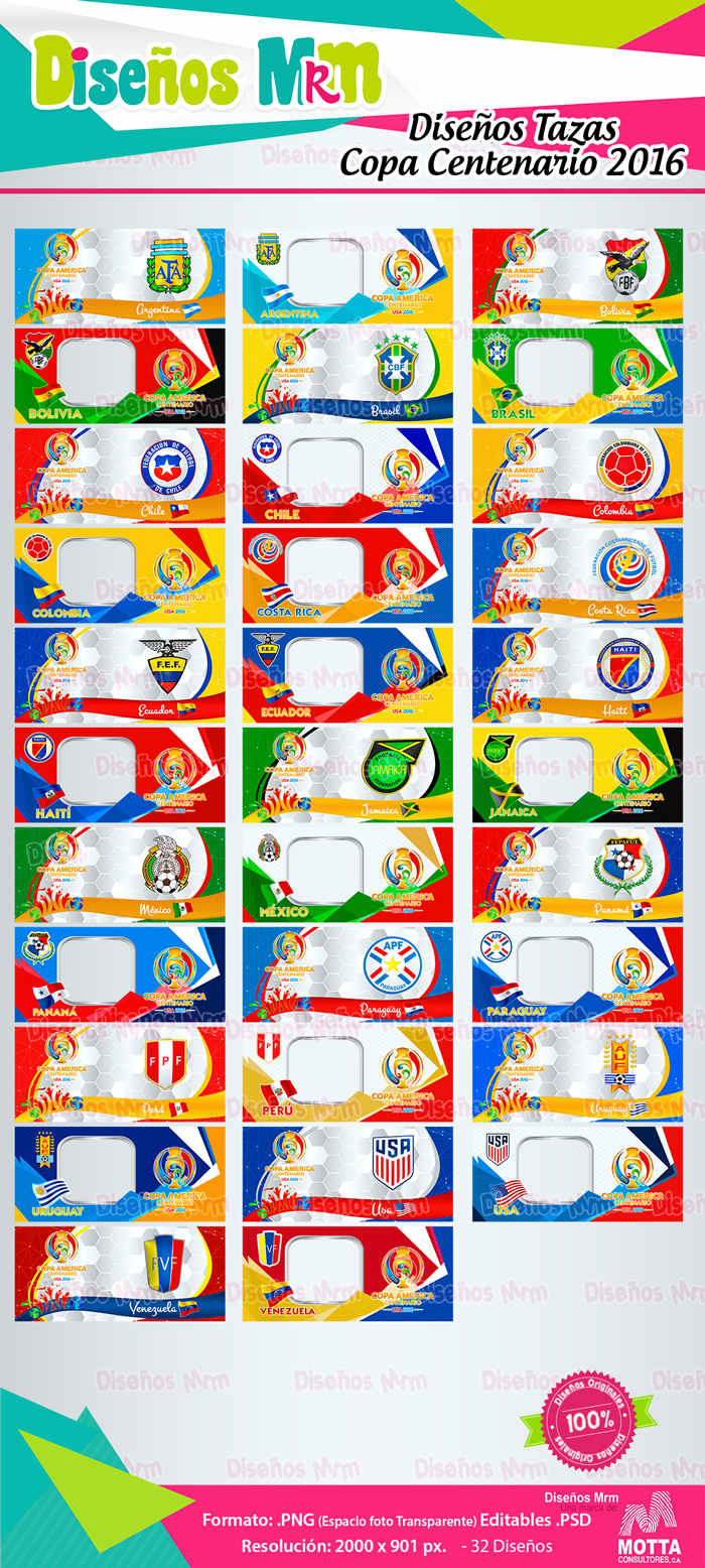 Plantillas Copa America Centenario Para Sublimar MUGS | TAZONES