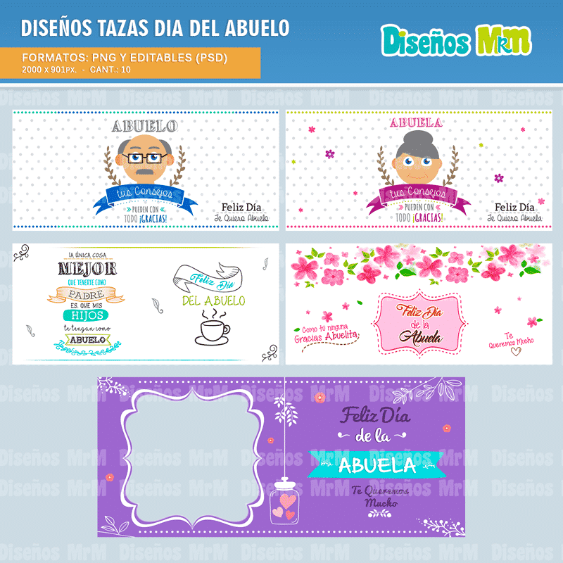 DISEÑOS DIA DE LOS ABUELOS para estampar Mugs 9d8e799af0300