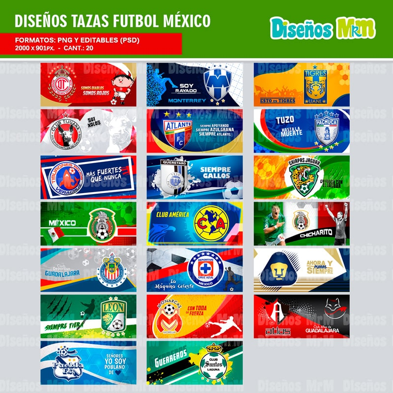 TEMPLATES FUTBOL MEXICANO PARA SUBLIMAR MUGS