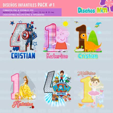Diseños-Infantiles-dibujos-franelas-polera-camisa-personalizadas-niños-mickey-minnie-capitan-princesas-bella-paw-patrol-ballet-peppa-gallinita-pintadita-sofia_7