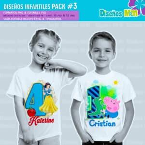 Diseños-Infantiles-dibujos-franelas-polera-camisa-personalizadas-niños-minnie-mickey-blancanieves-george-peppa-laloolypsy-mundo-de-luna-un-gran-dinosaurio-monster-high-sirenas-baby-TV-bebes_3