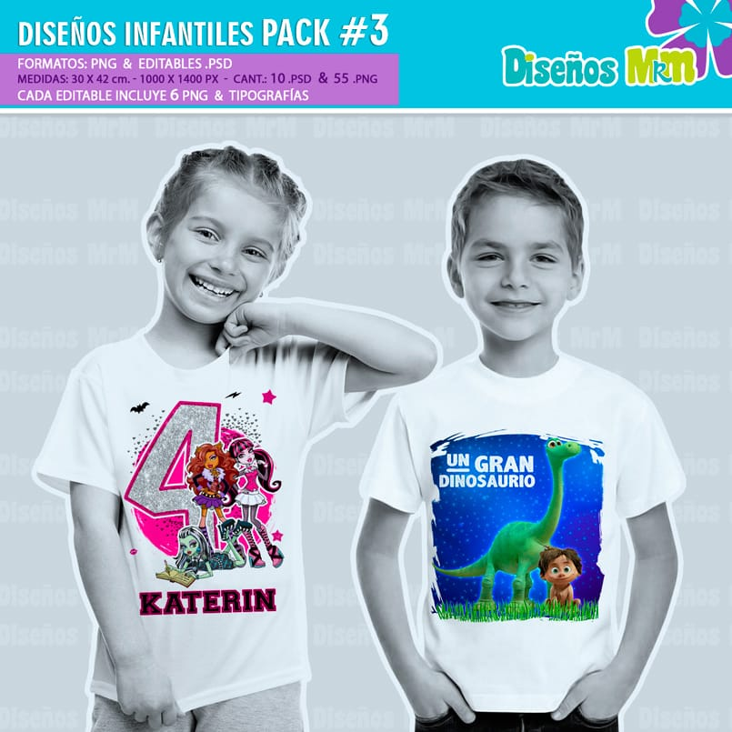 Diseños-Infantiles-dibujos-franelas-polera-camisa-personalizadas-niños-minnie-mickey-blancanieves-george-peppa-laloolypsy-mundo-de-luna-un-gran-dinosaurio-monster-high-sirenas-baby-TV-bebes_5