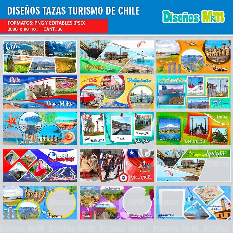 PLANTILLAS SITIOS TURISTICOS DE CHILE PARA SUBLIMAR TAZONES