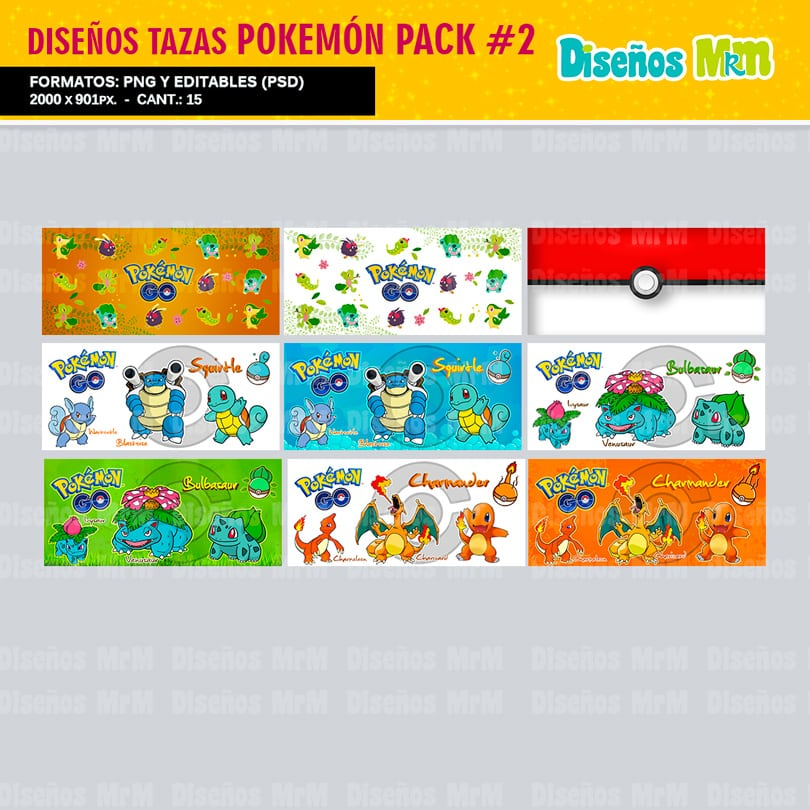 PLANTILLAS DE POKEMON PARA SUBLIMAR MUGS PACK N 2