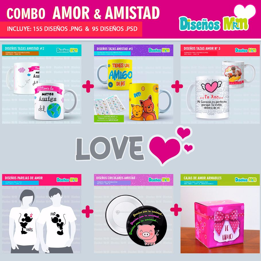 COMBO DISEÑOS AMOR Y AMISTAD