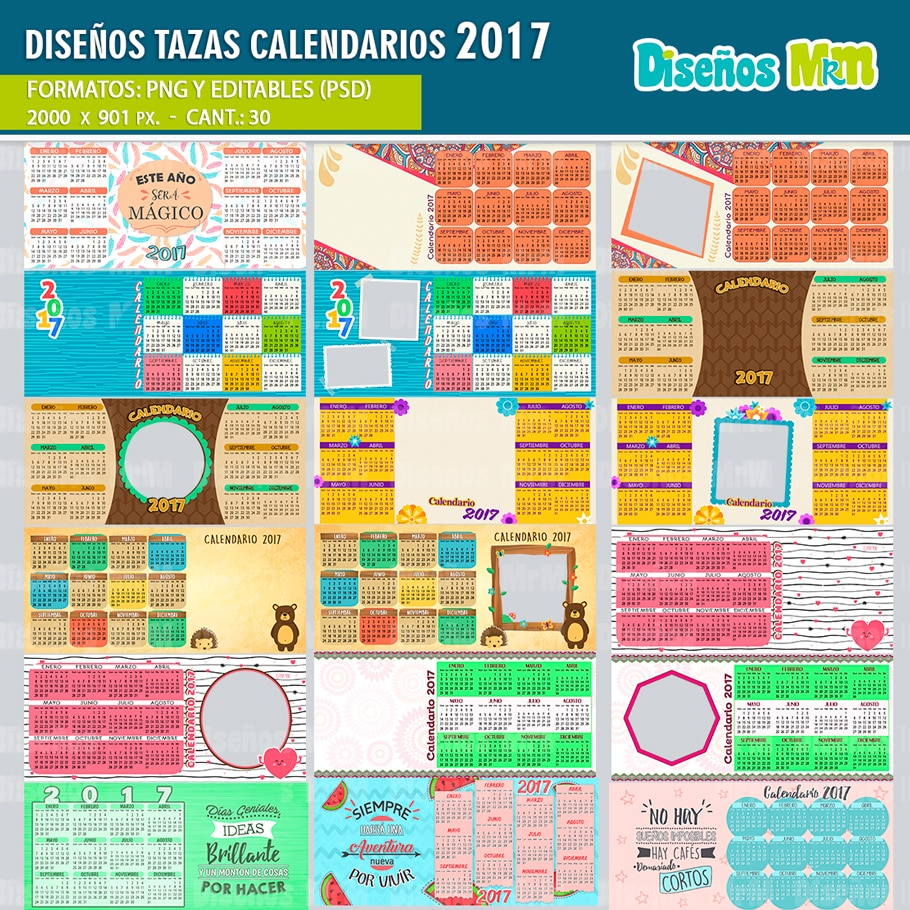 CALENDARIO 2017 PARA SUBLIMAR MUGS