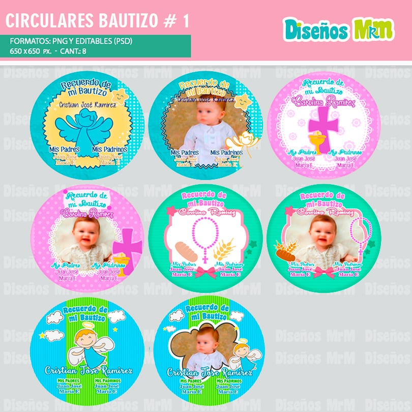 PLANTILLAS CIRCULARES PARA CHAPITAS DE BAUTIZO