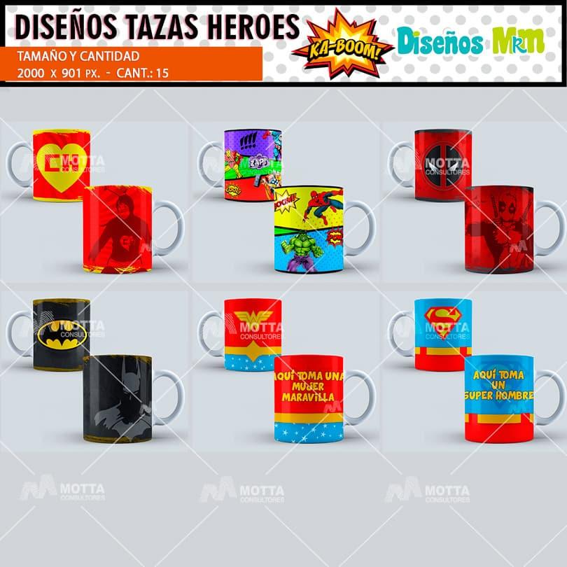 DISEÑOS DE HÉROES DE COMICS PARA MUGS