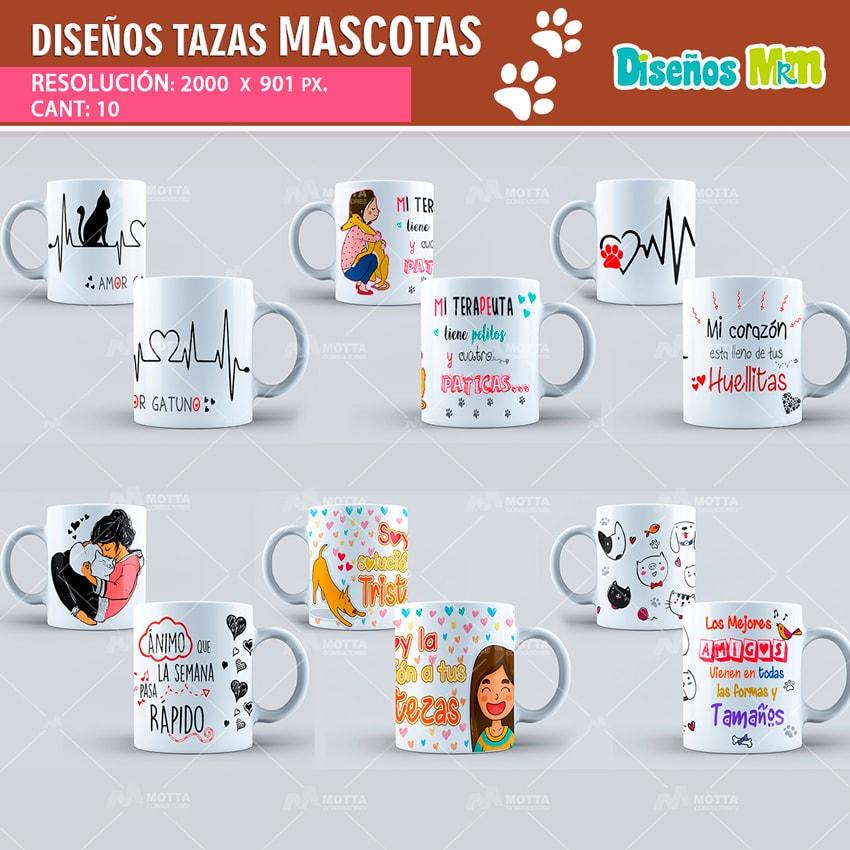 DISEÑOS TAZAS CON MOTIVO DE MASCOTAS
