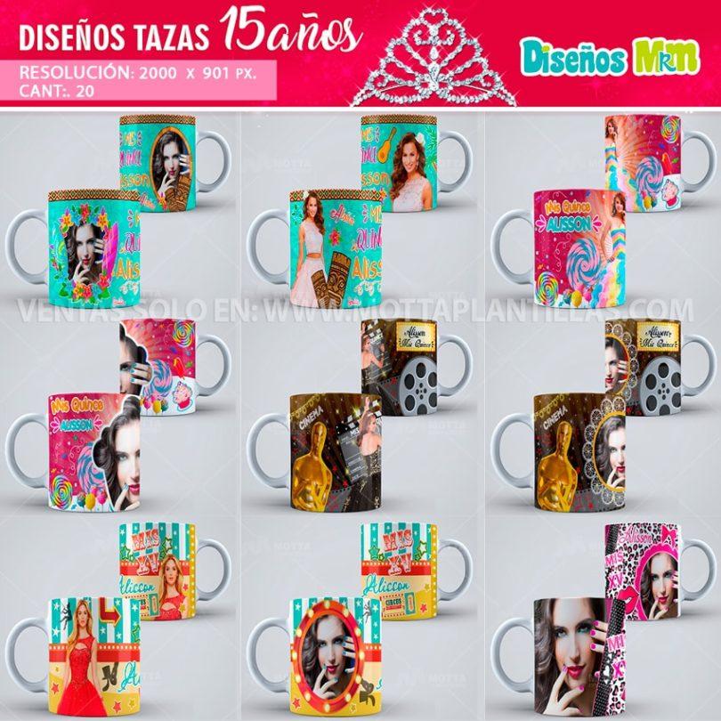 plantilla-diseño-marco-tazas-mug-design-aqui-toma-recuerdo-fiesta-quinceaños-quince-15-celebración-quinceañera-XV-paris-cine-chica-joven-min