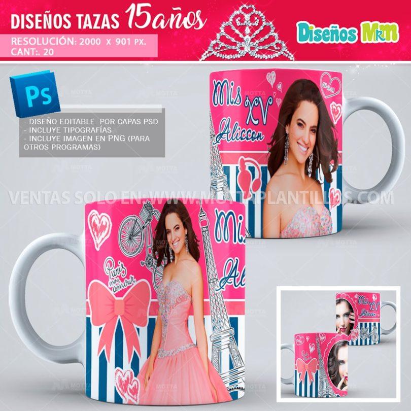 plantilla-diseño-marco-tazas-mug-design-aqui-toma-recuerdo-fiesta-quinceaños-quince-15-celebración-quinceañera-XV-paris-min