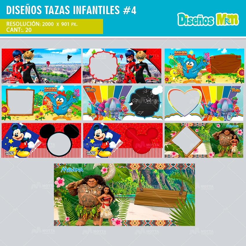 DISEÑOS PARA TAZONES DE DIBUJOS ANIMADOS | PACK INFANTIL N4