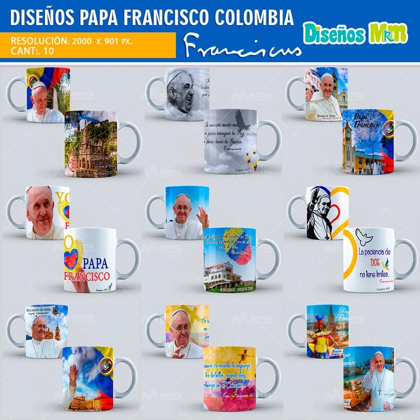 DISEÑOS PARA MUGS PAPA FRANCISCO EN COLOMBIA