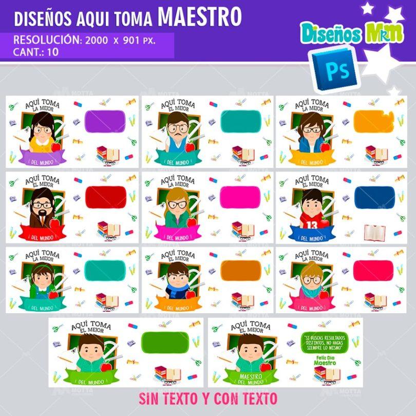 plantilla-diseño-marco-tazas-mug-aqui-toma-el-mejor-maestro-profesor-chile-argentina-min