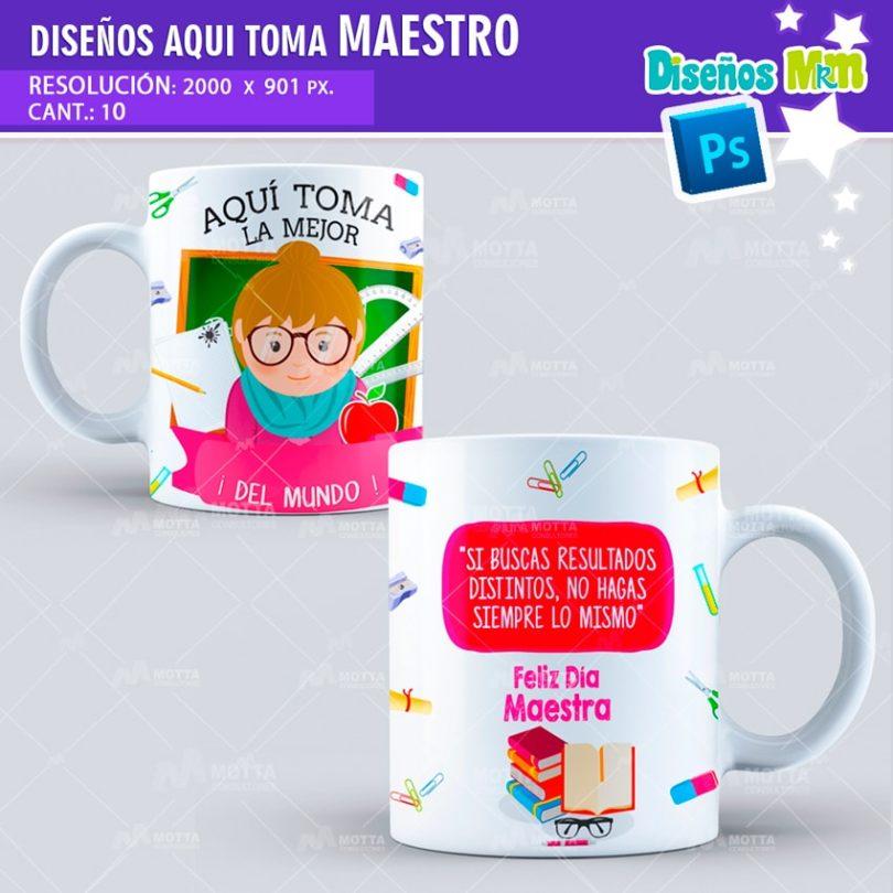 plantilla-diseño-marco-tazas-mug-aqui-toma-el-mejor-maestro-profesor-educacion-colombia-min