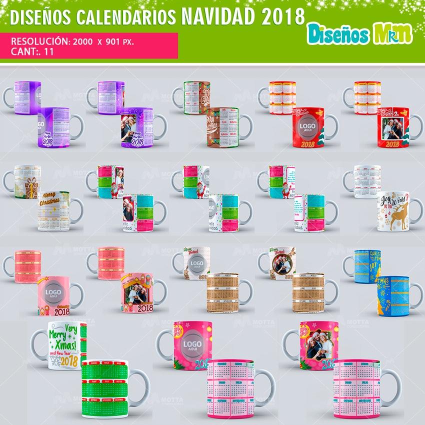 DISEOS PARA MUG CALENDARIOS NAVIDAD 2018
