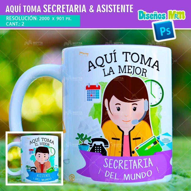 plantilla-diseño-tazas-mug-aqui-toma-bebe-secretaria-asistente-oficina-min