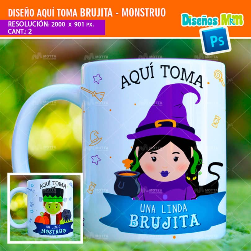 plantilla-diseño-tazas-mug-aqui-toma-brujita