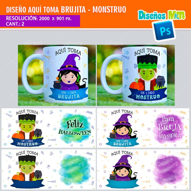 plantilla-diseño-tazas-mug-aqui-toma-mostruo-halloween