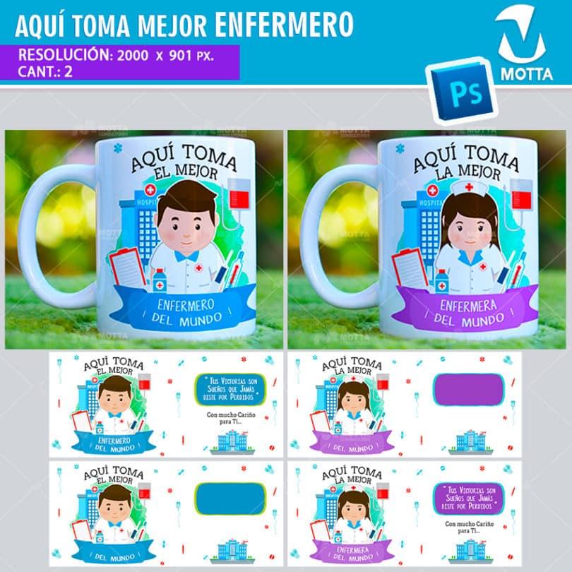 plantilla-diseño-tazas-mug-aqui-toma-bebe-enfermera-enfermeros