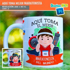 plantilla-diseño-tazas-mug-aqui-toma-bebe-maratonista-corredor