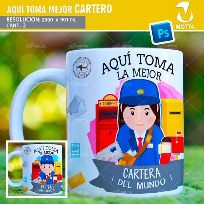 plantilla-diseño-tazas-mug-aqui-toma-cartero-cartera-profesion-mensajera
