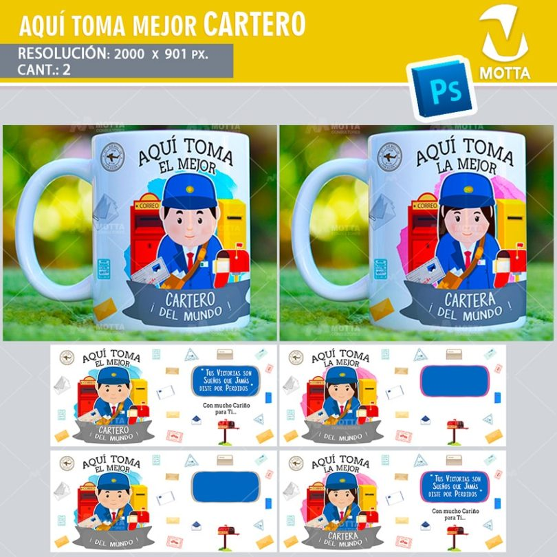 plantilla-diseño-tazas-mug-aqui-toma-cartero-cartera-profesiones-mensajero