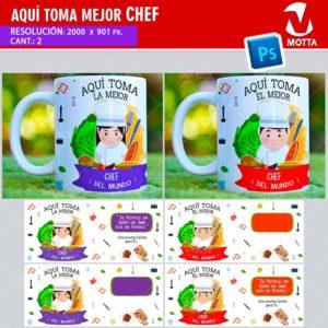 plantilla-diseño-tazas-mug-aqui-toma-chef-cocinera-cocina