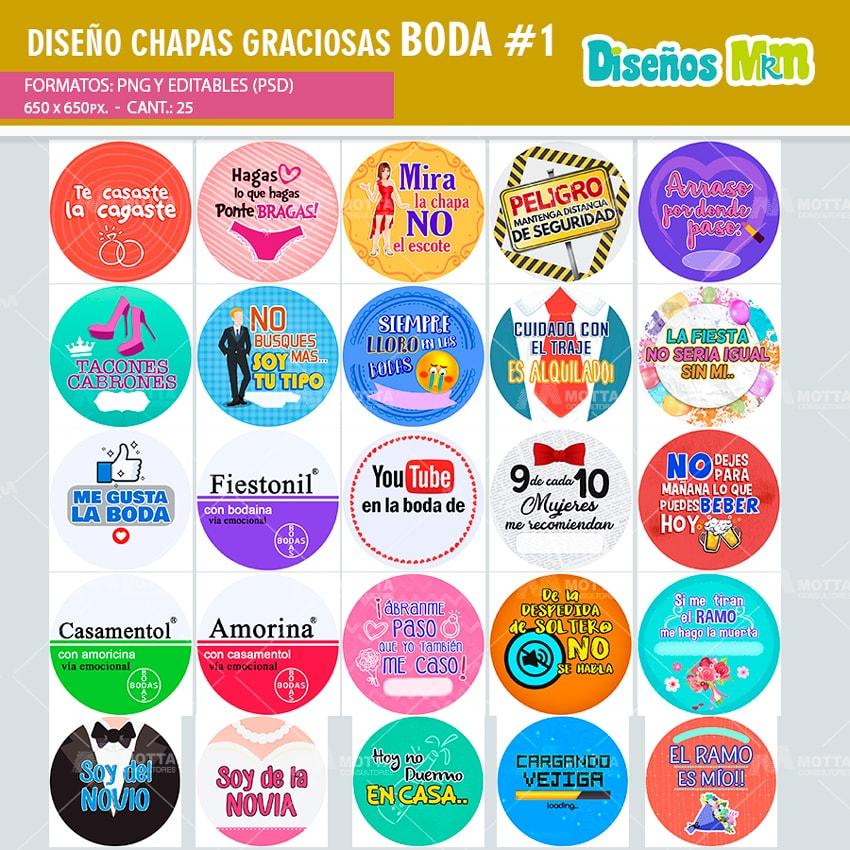 DISEÑOS DE CHAPAS CON FRASES GRACIOSAS PARA BODA PACK 1
