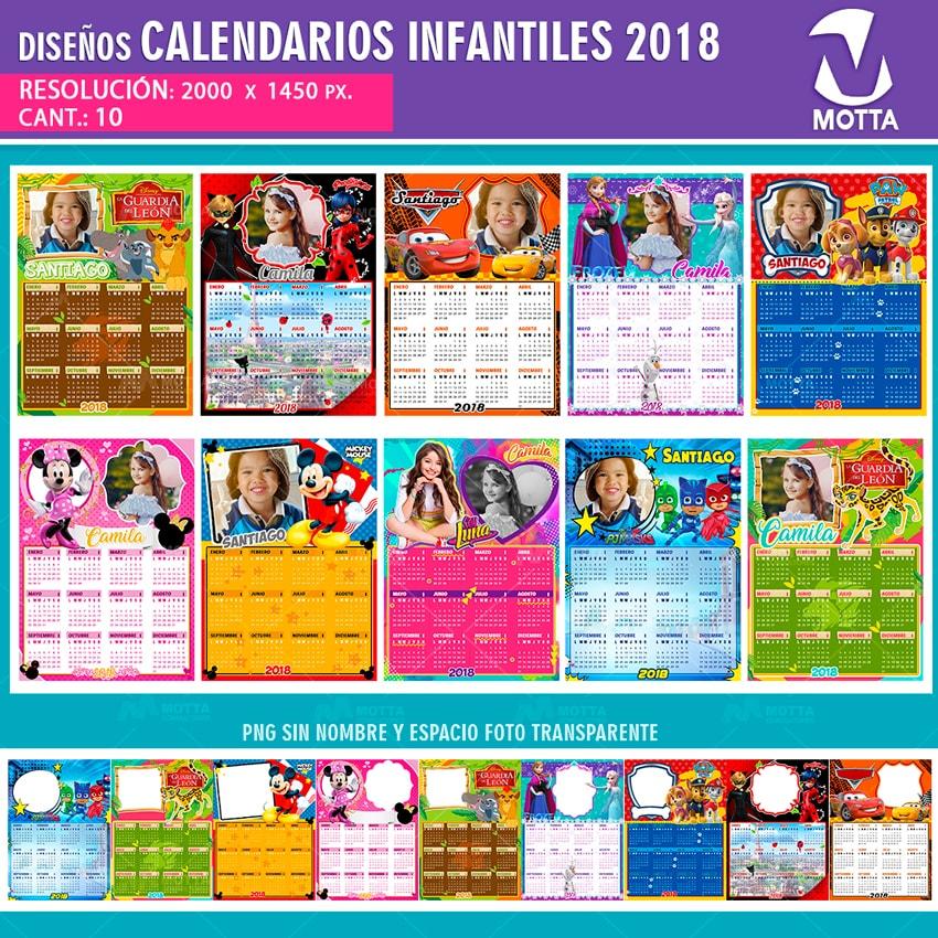 DISEÑOS PARA CALENDARIOS INFANTILES 2018
