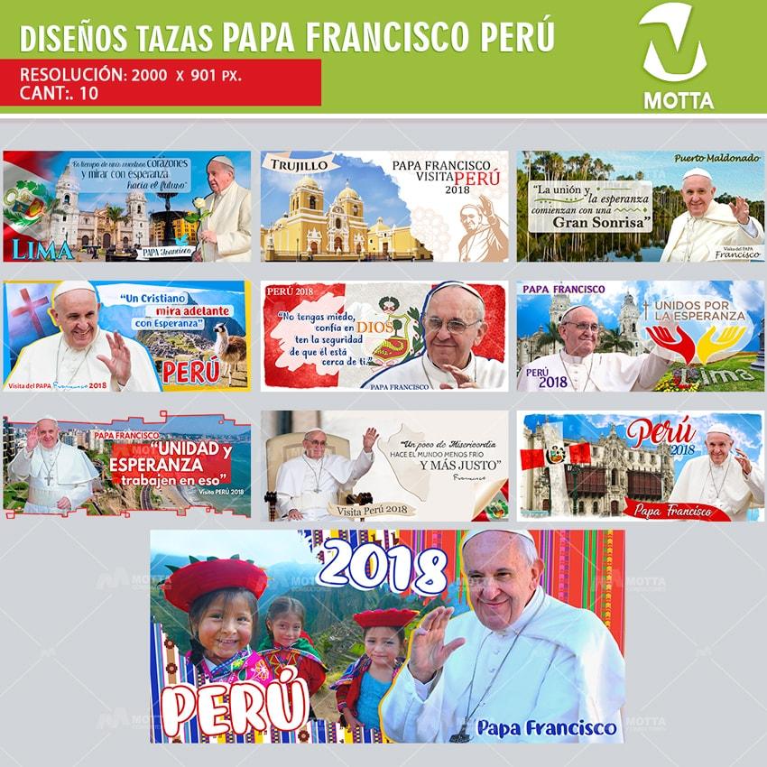 DISEÑOS PARA SUBLIMAR TAZAS PAPA FRANCISCO PERÚ