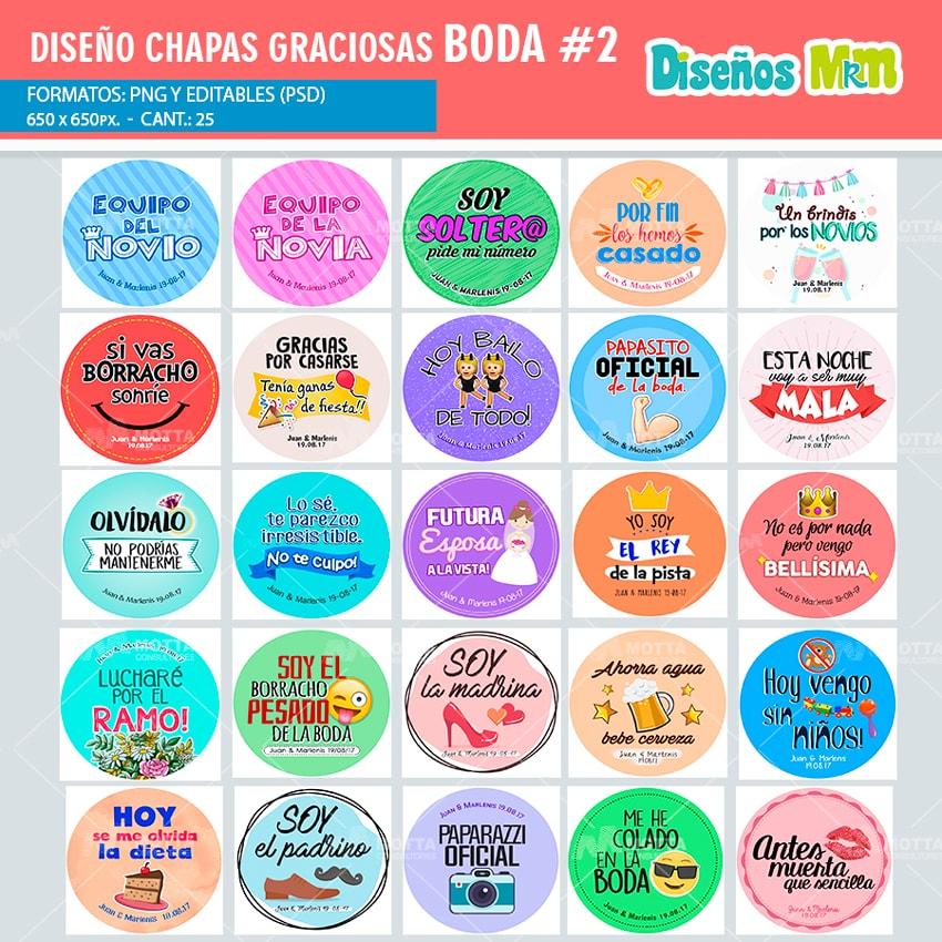 Diseños Chapas Con Frases Para Boda Pack 2