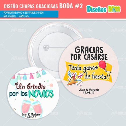 DISEÑOS CHAPAS CON FRASES PARA BODA