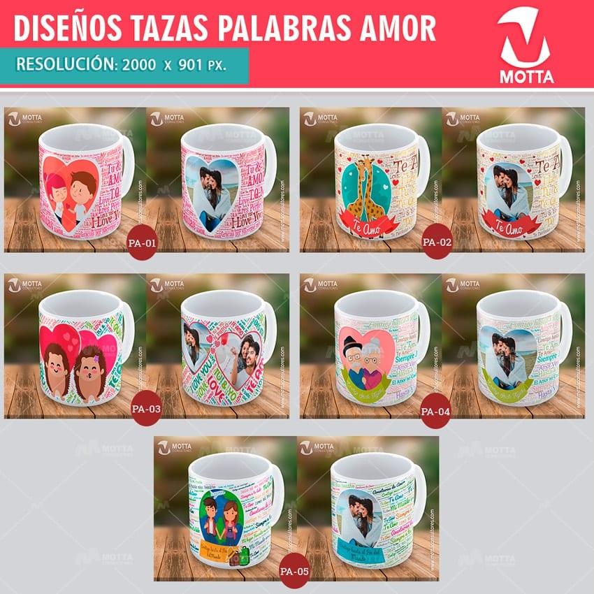 Palabras de amor dise os para sublimar tazas motta - Vasos personalizados ...