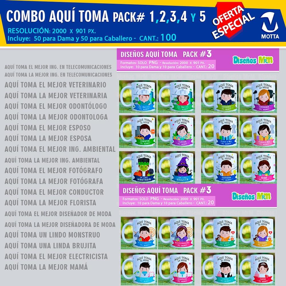 COMBO PROFESIONES AQUÍ TOMA PARA TAZAS CON LICENCIA