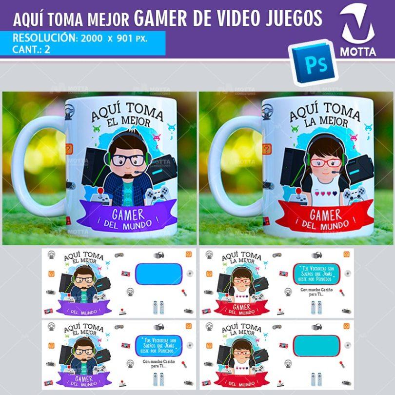plantilla-diseño-design-tazas-mug-vaso-aqui-toma-jugador-videojuegos-gamer