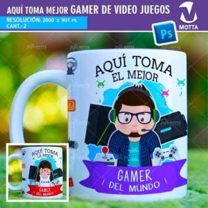 plantilla-diseño-design-tazas-mug-vaso-aqui-toma-jugadora-videojuegos-gamer