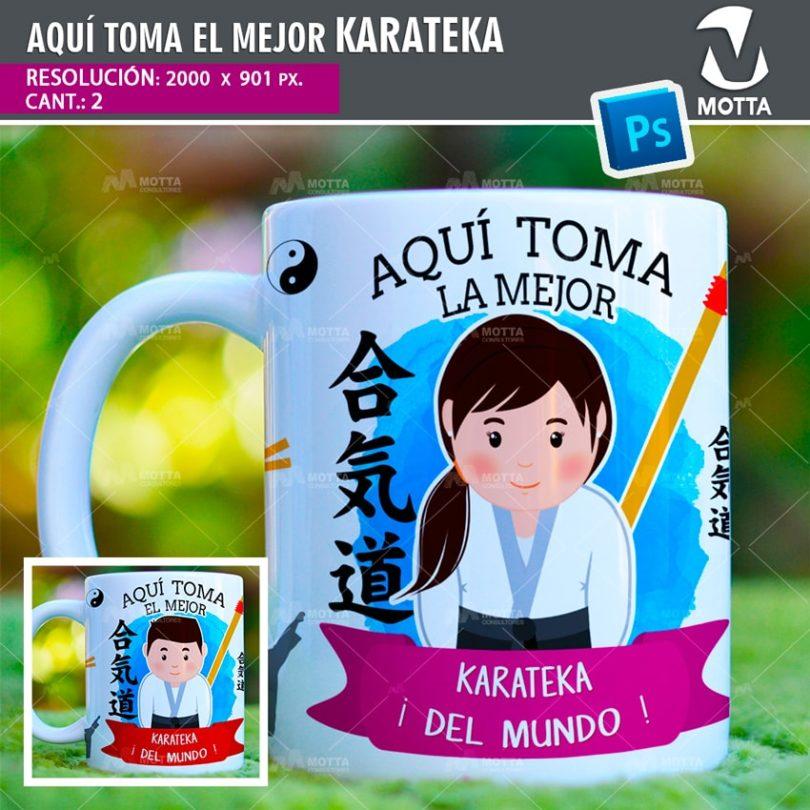 plantilla-diseño-design-tazas-mug-vaso-aqui-toma-karateka