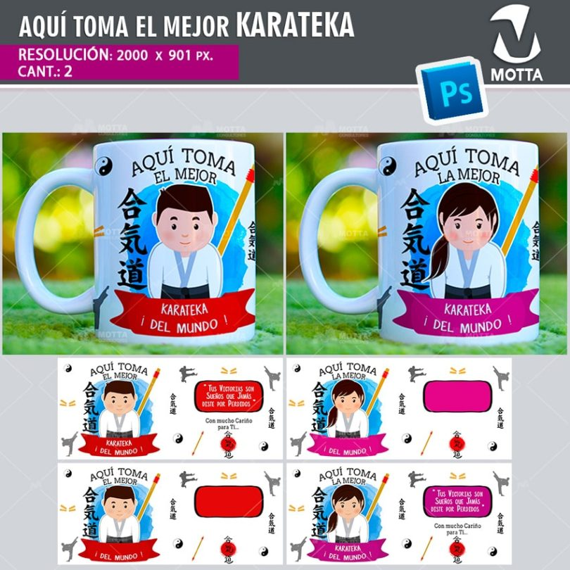 plantilla-diseño-design-tazas-mug-vaso-aqui-toma-karateka-aikido-sensei