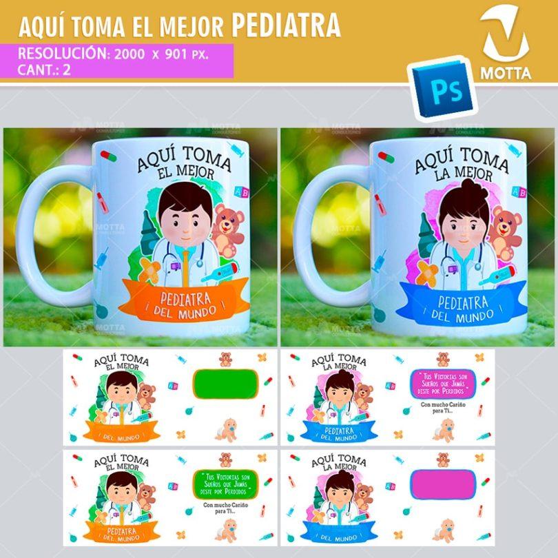 plantilla-diseño-design-tazas-mug-vaso-aqui-toma-pediatra-medico-medica-doctor-doctora