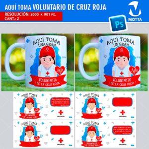 plantilla-diseño-design-tazas-mug-vaso-aqui-toma-voluntaria-cruz-roja-colaborador