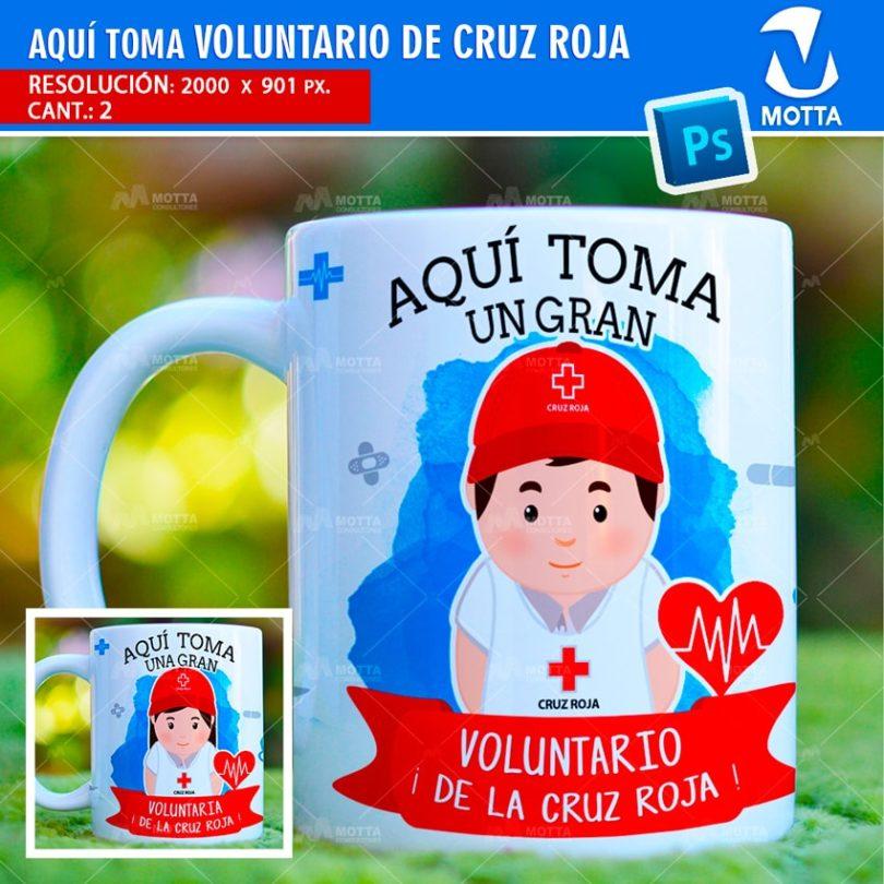 plantilla-diseño-design-tazas-mug-vaso-aqui-toma-voluntario-cruz-roja