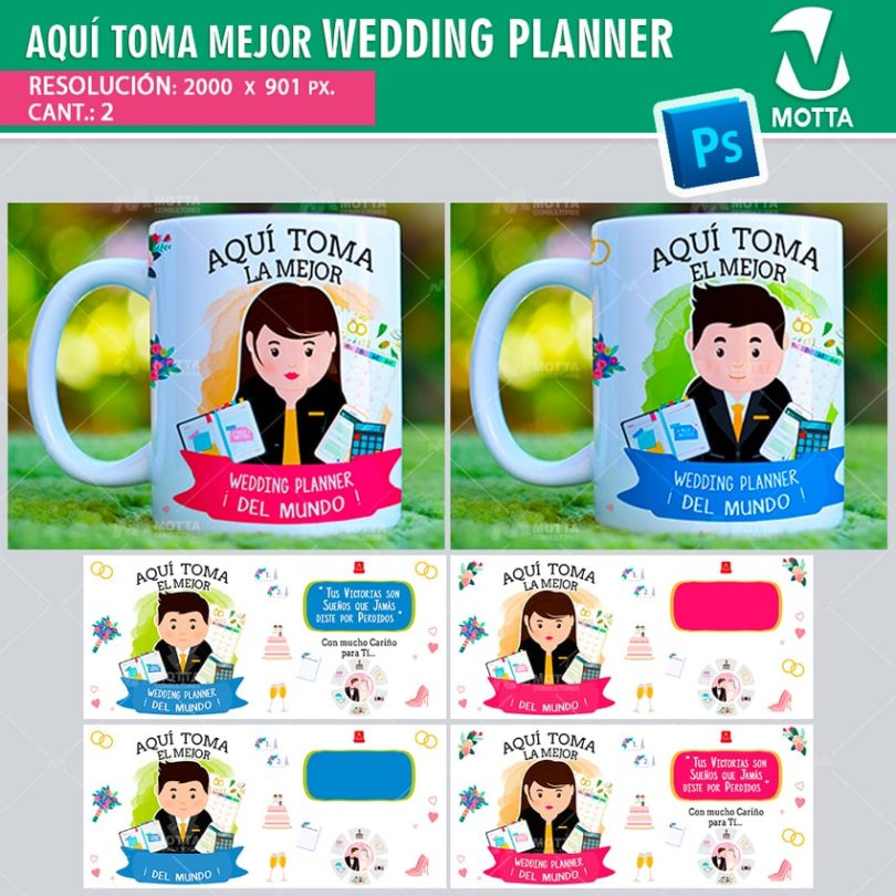 plantilla-diseño-tazas-mug-vaso-aqui-toma-organizador-organizadora-bodas-matrimonio